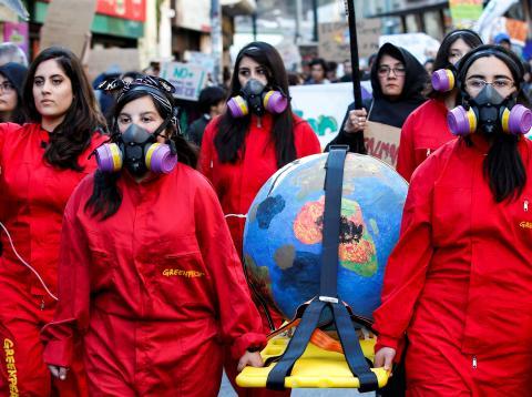 Manifestantes chilenas en una de las protestas de Fridays for Future