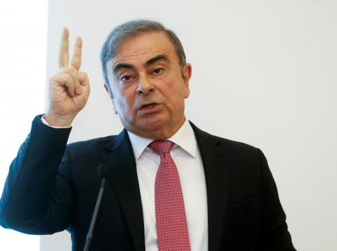 Former Nissan chairman Carlos Ghosn gestures as he speaks during a news conference at the Lebanese Press Syndicate in Beirut, Lebanon January 8, 2020.