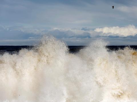 Una ola en una playa de la costa este de Japón