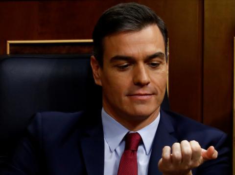 Pedro Sánchez, presidente del Gobierno, en la sesión de investidura.