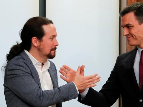 El vicepresidente segundo, Pablo Iglesias, y el presidente del Gobierno, Pedro Sánchez