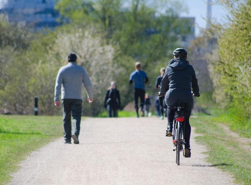 Grupo-gente-mujer-bicicleta-verde