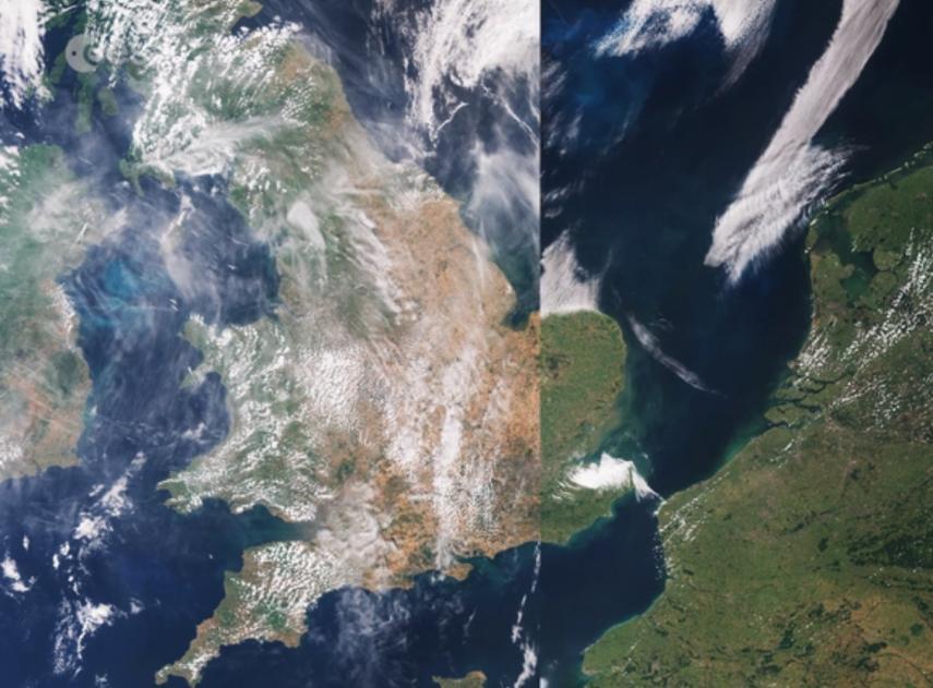 Estas imágenes de satélite muestran cómo la ola de calor ha arrasado países enteros en Europa