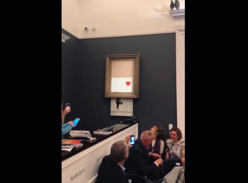 Banksy comparte un vídeo que explica la autodestrucción de su obra