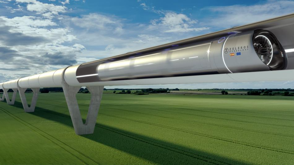 Una recreación del sistema hyperloop de Zeleros