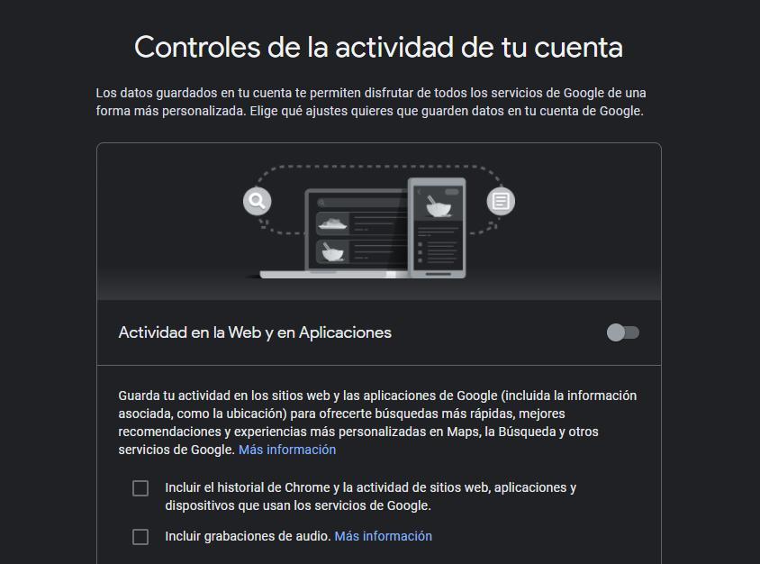 Actividad en la web Google