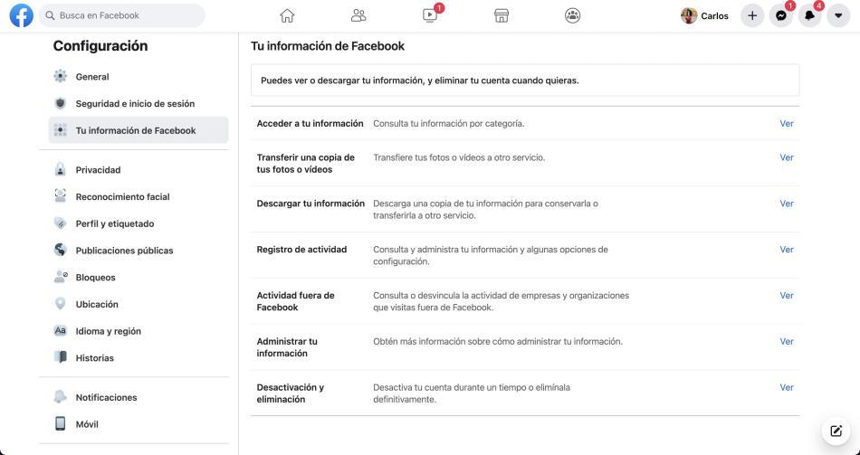 exportar info de facebook