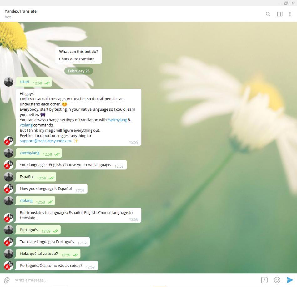 yandex traductor bot