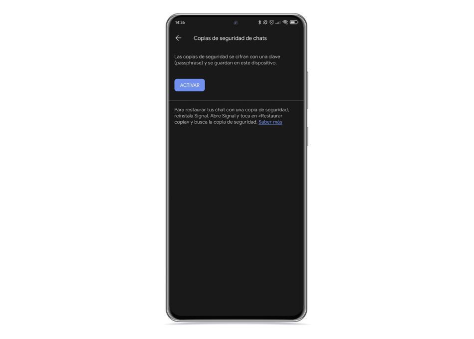 Signal copia seguridad