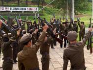 Reclutas del ejército de Cora del Norte en Pyongyang