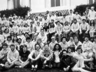 Apple's Macintosh team at an offsite meeting in Carmel, California, sometime in 1982: Steve Jobs is in the middle-left of the photo, two rows down from the top.