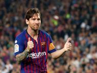 Messi celebra un gol en el partido del FC Barcelona contra el Sevilla en el Camp Nou, el 20 de octubre de 2018.