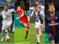 Sergio Ramos, Robert Lewandowski, Paulo Dybala y Neymar Jr
