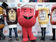Kool-Aid Man, Mr. Peanut, and The Ketchups in New York City's Times Square in 2017 during the kick-off event for the Feed Your Family, Feed The World program.