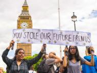 Manifestantes en favor de que Reino Unido siga en la Unión Europea