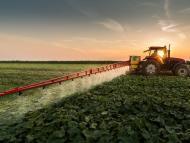 Tractor rociando pesticida