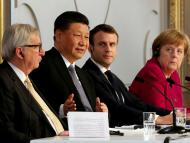 Jean-Claude Juncker, Xi Jinping, Emmanuel Macron y Angela Merkel
