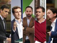 Pedro Sánchez, Pablo Casado, Santiago Abascal, Albert Rivera y Pablo Iglesias