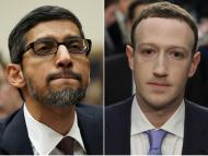 Google CEO Sundar Pichai (left) and Facebook CEO Mark Zuckerberg.