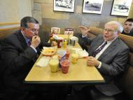 Berkshire Hathaway's Warren Buffett and former Dairy Queen CEO John Gainor eat lunch Monday May 20, 2013 in Omaha, Neb.