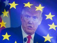 El presidente de EE.UU. Donald Trump, con una bandera europea sobreimpresionada sobre él