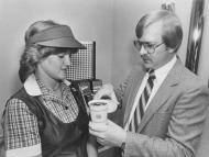 What's not stripes nor solid red? For Burger King in 1983, the answer to that was red plaid. Employees wore bold red frocks over plaid shirts in the US throughout most of the decadent decade.