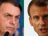 A composite image of Brazilian President Jair Bolsonaro in Brasilia, Brazil, on July 30 and French President Emmanuel Macron in Biarritz, France, on Monday.