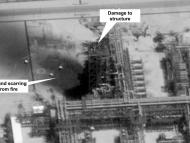 This image provided on Sunday, Sept. 15, 2019, by the U.S. government and DigitalGlobe and annotated by the source, shows damage to the infrastructure at Saudi Aramco's Kuirais oil field in Buqyaq, Saudi Arabia. The drone attack