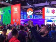 Visitors gather at the Nintendo Co. booth at the E3 electronic entertainment expo in LA (2019).