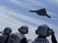 An X-47B pilot-less drone combat aircraft is launched for the first time off the USS George H. W. Bush.