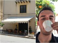 A closed cafe in Sambuca, Sicily, and the author.
