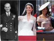 Prince Philip, Kate Middleton, and Meghan Markle photographed on the years they entered the royal family.