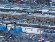 Una vista de la instalación de procesamiento de gas de Gazprom en el campo de gas de Bovanenkovo, Rusia.