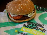 Burger King's Impossible Whopper, made with a plant-based meat alternative.