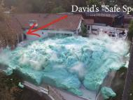 One view of the massive blue foam volcano that erupted in Nick Uhas' video.