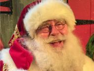 Santa Ed Taylor on a television set.