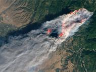 A satellite view of Paradise, California, on November 8, 2018 as a wildfire tears though the town.