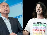 El CEO de WeWork, Masayoshi Son (i), y el de WeWork, Adam Neumann (d).