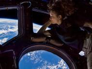 NASA astronaut Tracy Caldwell Dyson, Expedition 24 flight engineer, looks through a window in the Cupola of the International Space Station on September 11, 2010.
