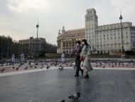 Primer día de estado de alarma: Plaza Catalunya