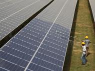 Hombres limpian paneles solares