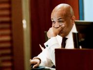 New York state Assembly Speaker Carl Heastie looks at his computer screen.