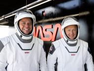 The NASA astronauts Bob Behnken and Doug Hurley during a dress rehearsal on Saturday ahead of NASA's SpaceX Demo-2 mission to the International Space Station.