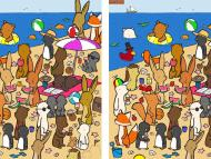 An artist sneaks hard-to-spot details into his brain-teasing illustrations. See if you can find the 7 differences between these beach party scenes.