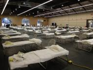 Cots are set up at a possible COVID-19 treatment site in San Mateo, California, April 1, 2020.