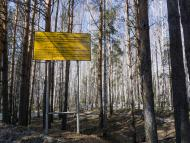 A sign warns people not to enter the town of Ozersk near the Mayak nuclear facility.