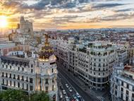 Atardecer en la Gran Vía de Madrid