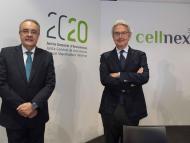 El consejero delelgado de Cellnex Telecom, Tobías Martínez, y el presidente, Franco Bernabè, en la junta de accionistas de 2020