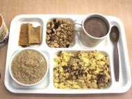 """It looks appetizing,"" Hong says of the scrambled eggs and bacon found in the US Army's ""cold weather"" MRE."