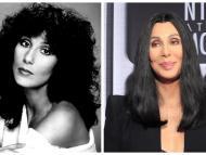A la izquierda, la actriz y cantante Cher en su juventud y a la derecha, con 67 años.